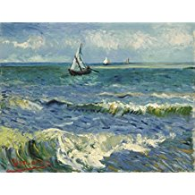 Seascape-at-Saintes-Maries-by-Vincent-Van-Gogh-Oil- The Best Beach Paintings You Can Buy