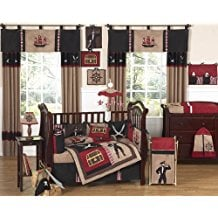 Sweet-Jojo-Designs-Treasure-Cove-Pirate-Red-Black-Ship-Baby-Boy-Bedding Beach and Nautical Crib Bedding