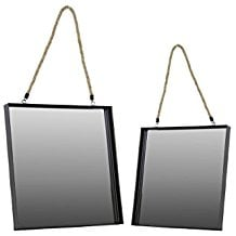 Urban-Trends-Metal-Square-Wall-Mirror-with-Rope-Hanger-Set-of-2-Black The Best Rope Mirrors You Can Buy