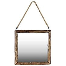 Urban-Trends-Wood-Square-Mirror-with-Rope-Hanger-Natural-Wood-Brown The Best Rope Mirrors You Can Buy