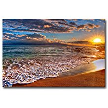 Wall-Art-Painting-Beach-Sunrise-White-Wave-Prints The Best Beach Paintings You Can Buy