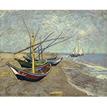 Wieco-Art-Fishing-Boats-on-the-Beach-Oil-Painting The Best Beach Paintings You Can Buy