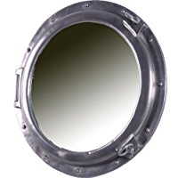 aluminum-finish-porthole-mirror Best Porthole Mirrors For Nautical Homes