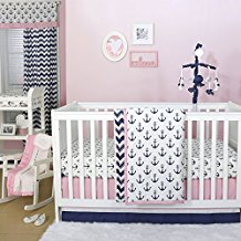 anchor-nautical-pink-navy-3pc-girls-crib-bedding-set Best Anchor Bedding and Comforter Sets
