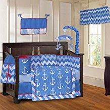 babyfad-anchor-chevron-light-blue-crib-bedding-set Best Anchor Bedding and Comforter Sets