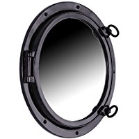 black-gloss-fiberglass-porthole-mirror Best Porthole Mirrors For Nautical Homes