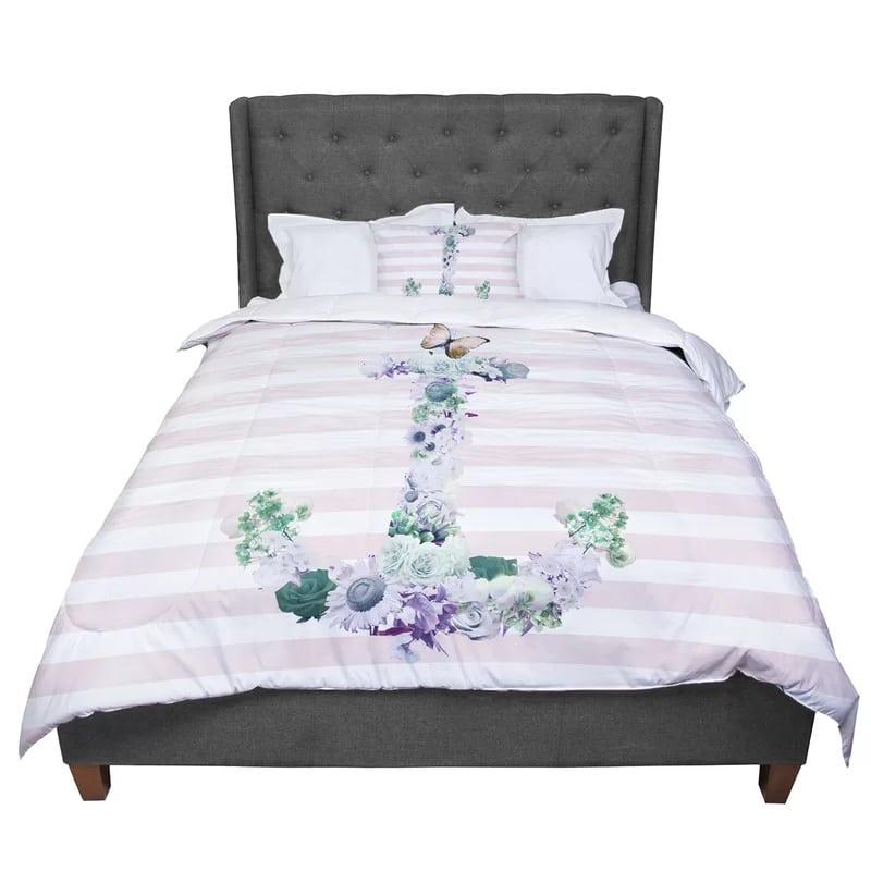 floral-anchor-stripes-comforter Best Anchor Bedding and Comforter Sets