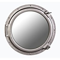 large-silver-porthole-mirror Best Porthole Mirrors For Nautical Homes
