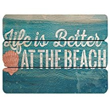 life-is-better-at-the-beach-vintage-wooden-wall-sign 100+ Wooden Beach Signs and Wooden Coastal Signs