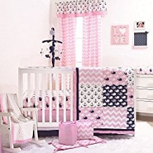 nautical-whales-and-anchors-pink-girls-anchor-crib-bedding-set Best Anchor Bedding and Comforter Sets