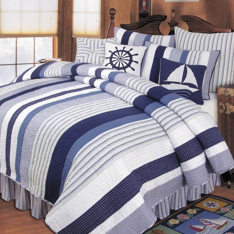 peregrine-quilt-anchors-by-beachcrest-home The Best Nautical Quilts and Nautical Bedding Sets