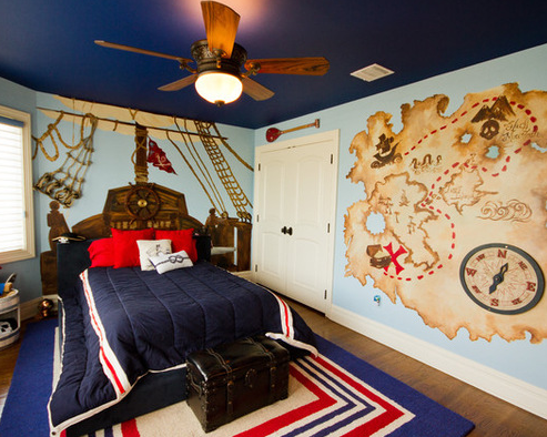 pirate-map-bedroom Best Pirate Bedding and Comforter Sets