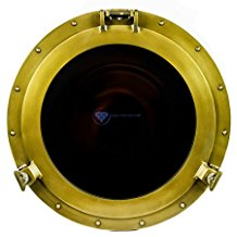powder-coated-antique-brass-porthole-mirror Best Porthole Mirrors For Nautical Homes