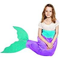 purple-and-teal-mermaid-blanket-tail Mermaid Bedding Sets and Mermaid Comforter Sets