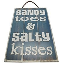 sandy-toes-and-salty-kisses-wooden-sign 100+ Wooden Beach Signs and Wooden Coastal Signs