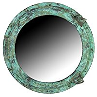 teal-wall-mount-porthole-mirror Best Porthole Mirrors For Nautical Homes