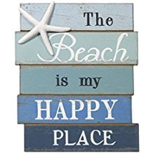 the-beach-is-my-happy-place-wooden-sign 100+ Wooden Beach Signs and Wooden Coastal Signs