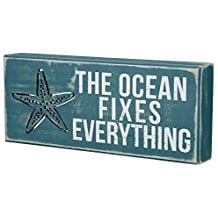 the-ocean-fixes-everything-blue-wooden-sign 100+ Wooden Beach Signs and Wooden Coastal Signs