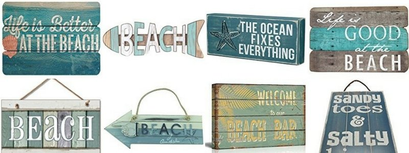 wooden beach signs