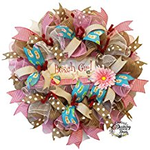 beach-girl-ruffle-mesh-wreath Beautiful Outdoor Beach Wreaths For Your Door