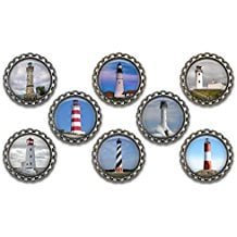 lighthouse-theme-bottle-cap-magnets Best Nautical Wedding Favors You Can Buy