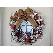 nautical-anchor-themed-decor-mesh-outdoor-wreath Beautiful Outdoor Beach Wreaths For Your Door