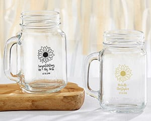 personalized-sunflower-mason-jar-mug-favor Best Mason Jar Wedding Favors You Can Buy