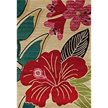 Art-Carpet-Antigua-Collection-Hibiscus-Woven-Area-Rug Outdoor and Indoor Tropical Area Rugs