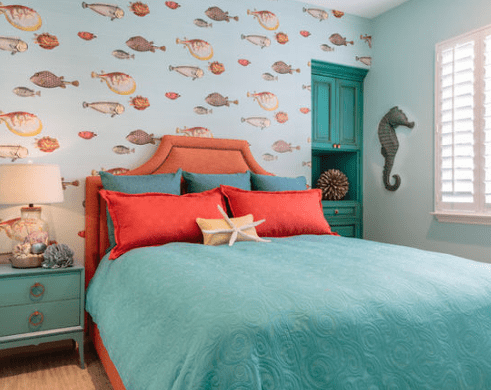 Beach-Guest-Bedroom-Suite-by-Caroline-Burke-Designs-and-Associates-Inc 101 Beach Themed Bedroom Ideas