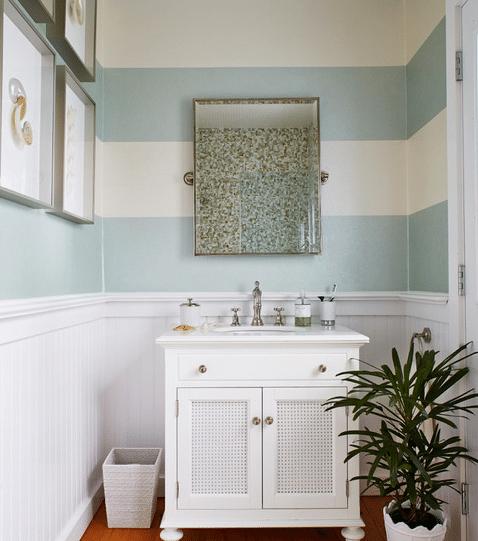Dynamic-Stripe-by-Jules-Duffy-Designs 101 Beach Themed Bathroom Ideas