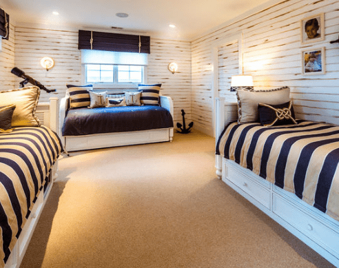 Nautical-Bedroom-by-Lawrence-Mayer-Interior-Design 101 Beach Themed Bedroom Ideas