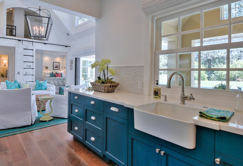 Saratoga-Pool-House-by-Mimi-Snowden-Design 101 Beautiful Beach Cottage Kitchens