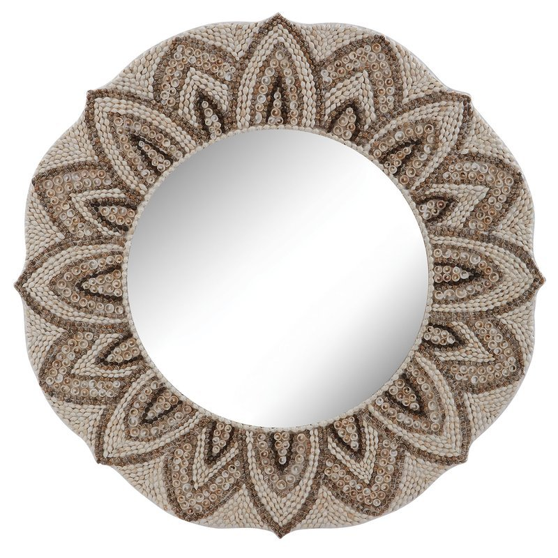 Summerfield-Natural-Round-Shell-Mirror Oyster Capiz and Sea Shell Mirrors