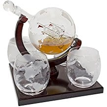 etched-globe-whiskey-decanter-set Ship In A Bottle Kits and Decor