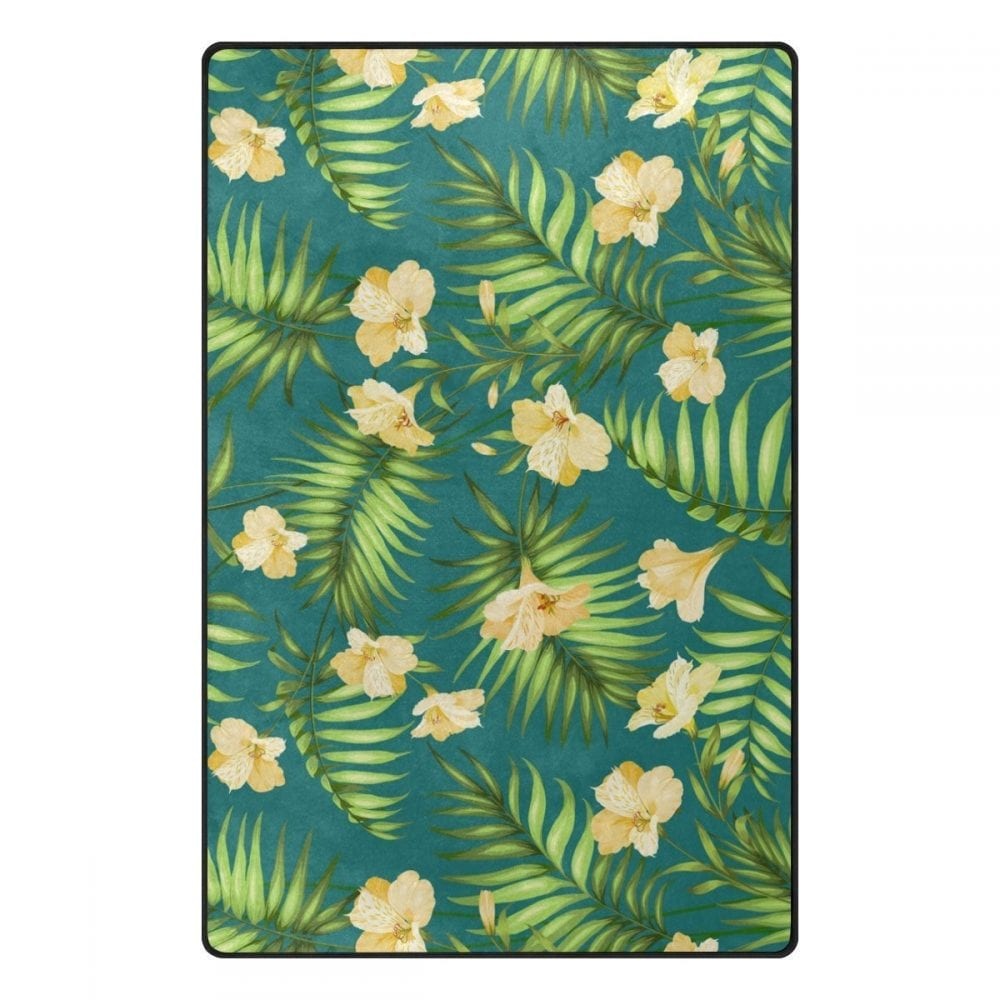green-hibiscus-flower-rug Outdoor and Indoor Tropical Area Rugs