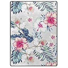 hawaiian-hibiscus-flower-area-rug Outdoor and Indoor Tropical Area Rugs