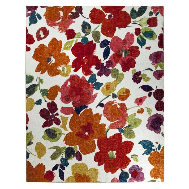 tropical-flowers-rug Outdoor and Indoor Tropical Area Rugs