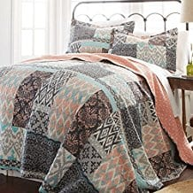 2-Piece-Girls-Teal-Blue-Coral-Pink-Patchwork-Quilt Coral Bedding Sets and Comforters