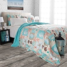 2-Piece-Light-Blue-Coral-Tan-Sea-Shell-Quilt-Twin-Set Seashell Bedding and Comforter Sets
