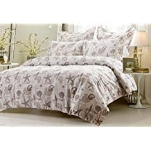 5pc-Seashell-Beige-Duvet-Cover-Set Seashell Bedding and Comforter Sets