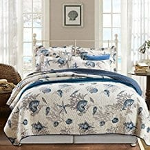 Babycare-Pro-Conch-and-Starfish-3-Piece-BedspreadQuilt-Sets Seashell Bedding and Comforter Sets