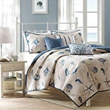 Bayside-Coverlet-Set-Blue-King-Coastal-Print Seashell Bedding and Comforter Sets
