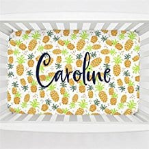 Carousel-Designs-Personalized-Custom-Golden-Pineapples-Mini-Crib-Sheet Pineapple Bedding Sets and Duvet Covers