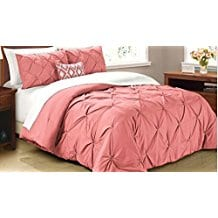 Cathay-Home-Oasis-PinTuck-Comforter-Set-Coral Coral Bedding Sets and Comforters