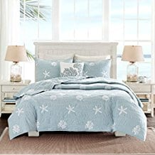 Coastal-Beach-House-Starfish-Seashell-Bedding-Set Seashell Bedding and Comforter Sets