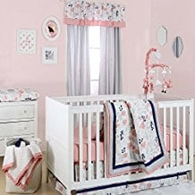 Coral-Pink-Grey-and-Navy-Floral-3-Piece-Crib-Bedding-Set-by-The-Peanut-Shell Coral Bedding Sets and Comforters