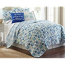 Elise-James-Home-Melanie-Quilt-Set-FullQueen-Blue Seashell Bedding and Comforter Sets