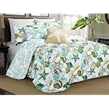 Elise-James-Home-Riveria-Aqua-Quilt-Set- Seashell Bedding and Comforter Sets