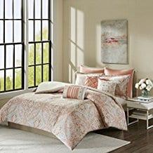 Grace-8-Piece-Cotton-Duvet-Cover-Set-Coral Coral Bedding Sets and Coral Comforters