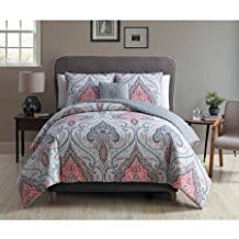 Gray-Medallion-4-Piece-Bedding-Duvet-Set-Coral Coral Bedding Sets and Comforters